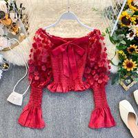 Kadın Bluzlar Gömlek Yornona Romantik Çiçek Dekorasyon Bluz Gömlek Kadın Gotik Kapalı Omuz Kırmızı Üst Moda Uzun Örgü Puf Kollu Delikan
