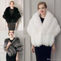 Winter Trouwjas Bruids Faux Bont Wraps Warm Sjaals Bovenkleding Zwart Gary White Women Jas Prom Avond Super Long 155 * 44 Cm