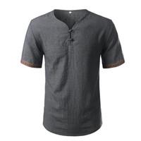 코튼 리넨 셔츠 남성 브랜드 짧은 소매 남성 헨리 셔츠 캐주얼 슬림 맞추기 격자 무늬 남성 드레스 셔츠 3 개 버튼 슈 옴므 동향