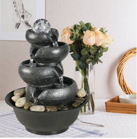Wholesales Free shipping 2019 sales!!! 11.4inches 4 Tier Indoor Fountain Zen Meditation Waterfall with Ball LED Light