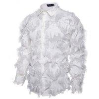 Bahar Erkek Püskül Casual Gömlek Deri Katı Yaka Boyun Erkek tişörtleri Uzun Kollu Tek Breasted Boys Gece Kulübü Tops