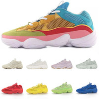 2021 With Box Kanye West 500 Rainbow Mens Running Shoes Fashion 500s Bone Salt Super Moon Yellow Blush Women Trainers Sneakers Size 36-45