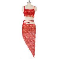 Neuheiten Frauen Tanz Tragen Orientalischen Stil Bauchtanz Pailletten Kostüm Set Bh Hüfttuch Fransen