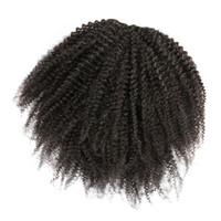 Mongolian No Tangle Afro Kinky Кудрявая вертикальный хвост натуральный черный от 12 до 26 дюймов 120 г человеческих волос плетение эвры упругости