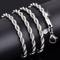 3 мм стерлингового серебра 925 ожерелья веревка цепь подходит для кулон мужчины ожерелье женщины ювелирные изделия DIY аксессуары 16 18 20 22 24-30 дюймов