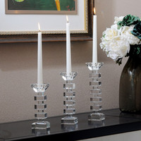 Europa Fashion Style Classes Candeliere di cristallo Candeliere religioso Portacandele Tealight Portacandele Decorazione di nozze Centrotavola Candlesti di cristallo