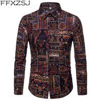 Мужские повседневные рубашки FFXZSJ 2021 Fall Mens с длинным рукавом Печать Slim Fit Хлопчатобумажная каникула стиль моды городская одежда