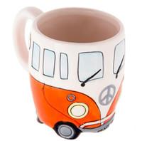 400ml creativa mano di pittura doppio Bus del fumetto tazze Retro tazza di ceramica del latte del caffè Tazza di tè Bicchieri Novetly Gifts