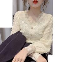 TiLeewon Новые женщины рубашки сплошного цвета V-образным вырезом длиной кружева Полный рукава джемпера весна осень дамы Офис одежда