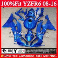 Metalen platte blauwe injectie voor Yamaha YZFR6 YZF-R6 YZF R6 08 09 10 11 12 13 14 15 16 Fairing Kit + beugelhouder + koplamp + tankdeksel