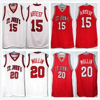 Ron Artest # 15 농구 유니폼 크리스 멀린 # 20 월터 베리 # 21 세인트 존의 대학 복고풍 남자의 스티치 된 사용자 정의 번호 이름 유니폼