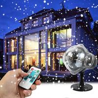 새로운 크리스마스 야외 LED 폭설 빛 눈송이 프로젝션 램프 가든 잔디 스노우 샤워 EU 미국 플러그 원격 제어