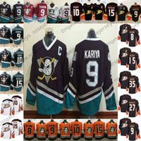2019 Anaheim Ducks # 8 Teemu Selanne 9 Paul Kariya 10 Corey Perry 27 Scott Niedermayer 35 Jean-Sebastien Giguere Aposentado Black White Jersey