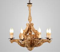 Madeira candelabro iluminação para estar Sala de jantar Luster Vintage Lustres Loft Hanging Retro Home Decor Luster luminárias LLFA
