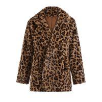 Autumn Fashion Women Leopard Printing Faux Fur Coats Ladies Warm Long Velvet Overcoat Streetwear Long Sleeve Casual Thick Coat