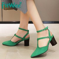 FITWEE Mulheres Sandals Pointed Toe Ankle Strap Buckle Sólido Quadrado Colorida Heel Casual Party Club Dança Mujer Zapatos Tamanho 34-43