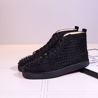 Designer shoes Spike Red bottom Sneakers leather shoes junio...