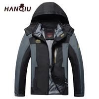 Męskie Kurtki Hanqiu Brand Plus Size L -8XL Losse Kurtka Mężczyźni Outrunner Wodoodporny Windjack Bombowiec Z Kapturem Jaqueta Masculino