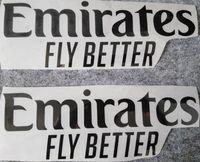 Emiratos volar mejor estampado frontal patrocinador logotes pegatinas impresión brazaletes insignias de fútbol estampado brazalete negro impresionado parches de fútbol