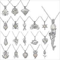 Käfig Anhänger Halskette 2019 neue Liebes Wunsch natürliche Perle mit Oyster Perle Mix Design Mode Hohl Medaillon Schlüsselbein Kette Halskette Großhandel
