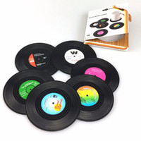 6Pcs Set Silicone Vinyl Record Drink Coasters Soft Table Cup...
