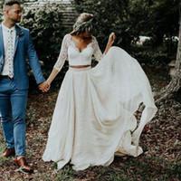 Land Zwei Stücke Brautkleider 2020 Neue Günstige V-Ausschnitt Lange Ärmel Eine Linie Tüll Hollow Rücken Böhmische Hochzeit Brautkleider Vestidos de