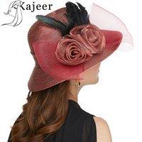 Kajeer 2019 الشاش ريشة فيدورا قبعة أنيقة الأميرة القبعات ورأى بريم القبعات bowknot الرامي قبعات السيدات قبعة