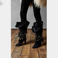 Beertola New Women Boots Flock Tacones Altos Golden Spikes Mid-calf Fringe Lace Up Dress Boots Mujer Punta estrecha Zapatos Mujer Bota