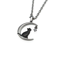 Necklace ARPSS116- steel+ black New 316L cat on moon 2 tones p...