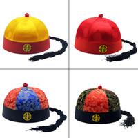 Trasporto libero Tang costume per bambini Signore di Melone cappello dinastia Qing palazzo imperatore sposo Costume bambino cappello cappello di nozze Per Adulti molto beaut