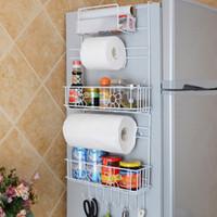 Frigorífico cremalheira Side prateleira Sidewall Titular Multifuncional Kitchen Supplies Organizador Household Multi-camada Frigorífico armazenamento T200319
