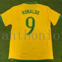 톱 2006 Brasils 레트로 축구 유니폼 빈티지 클래식 Ronaldo 9 Ronaldinho 11 Ronaldinho 11 Rivaldo 10 태국 품질 유니폼 축구 셔츠 Camiseta Futbol Jersey Size S-XXL