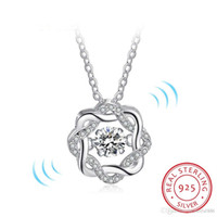 Fashion Classic Drehen Tanzen CZ Stein 925 Sterling Silber Anhänger Halskette Für Frauen Modeschmuck Geschenk Für Liebe