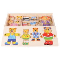 Little Bear Cambio de vestido del juego del rompecabezas de rompecabezas de madera de juguete Montessori educativos para la primera cambiarse de ropa Puzzle juguetes para los niños regalo