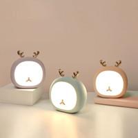 BRELONG yaratıcı sevimli hayvan geyik gece lambası tavşan tavşan kademesiz dokunmatik usb şarj edilebilir masa lambası 1 adet