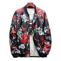 Marca New Rose Bomber Jacket Homens Mens Casacos Casacos Mans Casaco Moda Masculino Casaco Tamanho M-5XL