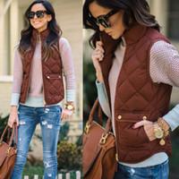 2017 هوت مبيعات الشتاء الخريف الدافئة المرأة القطن سليم جيوب السوستة 3 ألوان سترة بلا أكمام