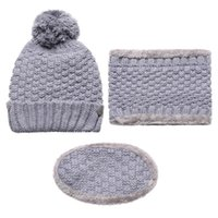 Máscaras 3pcs mujeres una protección fría Bufanda caliente de los sombreros del sombrero del invierno de la bufanda Máscara Set Esquí Cap punto Beanie calentador del cuello