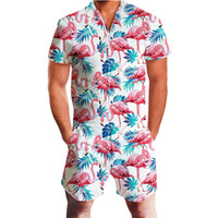 Flamingos imprimé floral barboteuses Hommes 3D drôle graphique à manches courtes Jumpsuit hommes Salopette Salopette été Casual Tenues; Une Piece