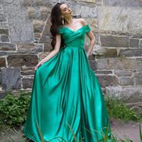 2020 Темно-зеленый Длинных платья с плечом Линии полнометражной Элегантным вечера женщины партия платье Дешевых Платья Платье De Noite