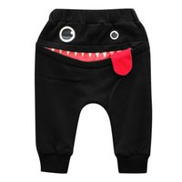 Moda Toddler Bambini Neonate Ragazze Cartoon Shark Tongue Harem Pantaloni Inverno Casual Solid Color Elastico Pantaloni Vita 6M-3Y A25