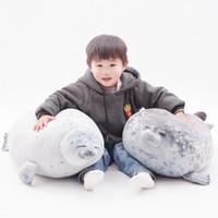 Nette 80 cm Super Soft Sea Dog Seals Puppe Plüschtier, Unten Baumwolle Kissen, Ornament Xmas Kid, Mädchen Geburtstagsgeschenk, Dekoration 4-2