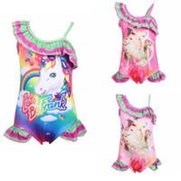 regnbåge unicorn print sommar baby flickor baddräkt barn barn baddräkt mode tjejer one-piece strand simning bikini kostym l-jja1862