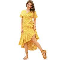 여성 짧은 소매 랩 맥시 드레스 어떻게 저 앙 허리 벨티드 캐주얼 긴 꽃 무늬 드레스를 인쇄