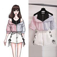 Plus size 2 peças shorts conjuntos verão doce coreano fora de ombro tops e shorts 2 peças conjuntos mulheres roupas dois peças roupas
