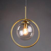 Loft Lámpara colgante moderna Lámpara colgante de cabecera Cocina Isla Suspensión Dormitorio Magic Bean Gold Glass Ball Lighting
