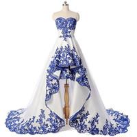 2019 elegante laço de ouro apliques sweetheart vestidos de baile hi-lo varredura trem vestidos de noite personalizado plus tamanho mulheres vestido formal