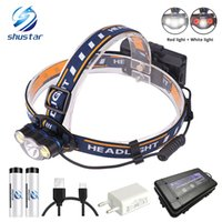 Super bright LED headlamp White light + Red light fishing he...