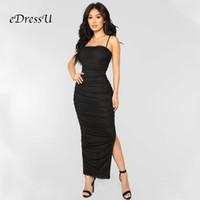 Vestidos Casuais Edressu Pleated Evening Party Dress Spaghetti Correias Sexy Slit Club Dating Night Wear Black Bandage Bodycon MS-506