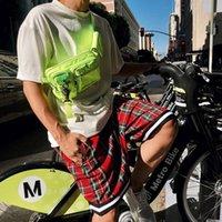 'Homens S Scottish Plaid Shorts Oversized Baggy Shorts Streetwear malha Tartan Gota Crotch Shorts Men Side Zip estiramento joelho M-2XL